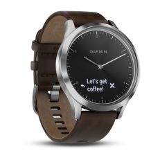 Garmin vivomove HR Premium Silver with Dark Brown Leather Band (Large)