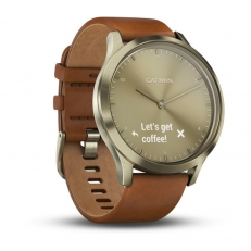 Garmin vivomove HR Premium Gold with Light Brown Leather Band (Small/Medium)